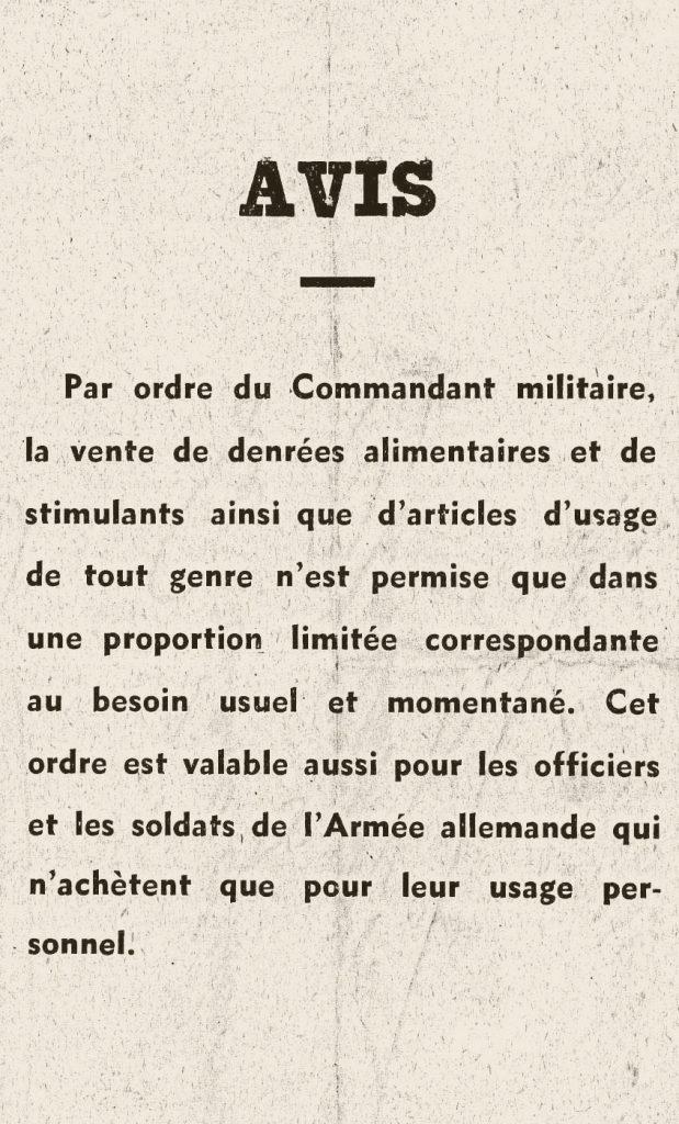 Avis de l'administration militaire allemande concernant le rationnement en Belgique en 1941