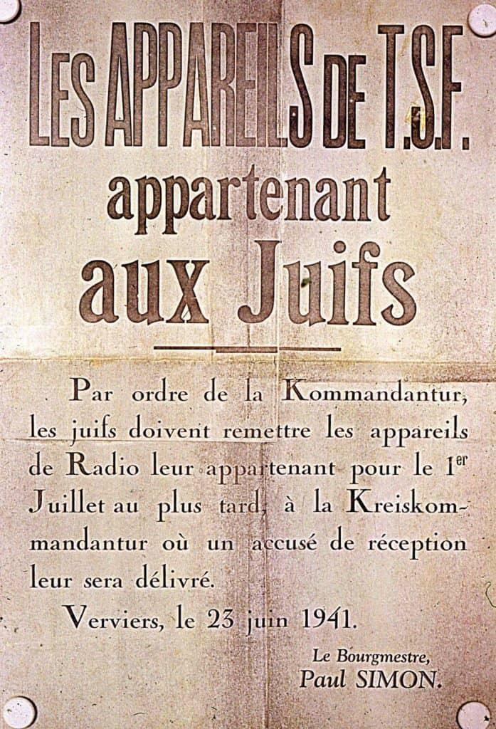 Avis de remise des appareils de radio - Verviers 23 juin 1941
